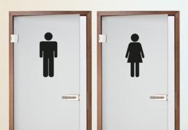 Deursticker Toilet Man Vrouw