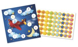 Plaskaarten met grote stickers - Vlieg door de sterren - Topkwaliteit