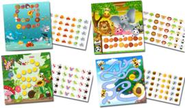 Plaskaart met stickers Gezellige Diertjes - Mega Set
