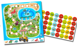 Plaskaart met stickers complete set - Dino