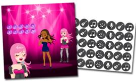 Plaskaart met stickers complete set - Popstar