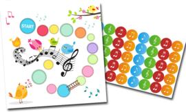Plaskaart met stickers complete set - Muziek