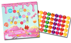 Plaskaart met stickers complete set - Snoepjes