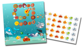 Plaskaart met stickers complete set - Aquarium