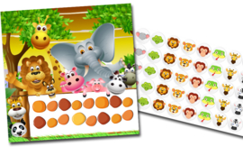 Plaskaart met stickers complete set - Jungle