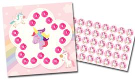 Plaskaart met stickers complete set - Eenhoorn