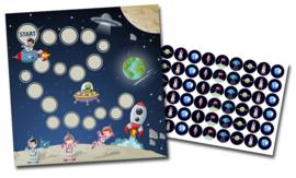 Plaskaart met stickers complete set - Ruimte