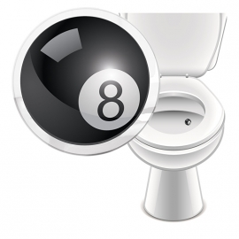 Toilet Stickers 8-Ball - 2 Stickers