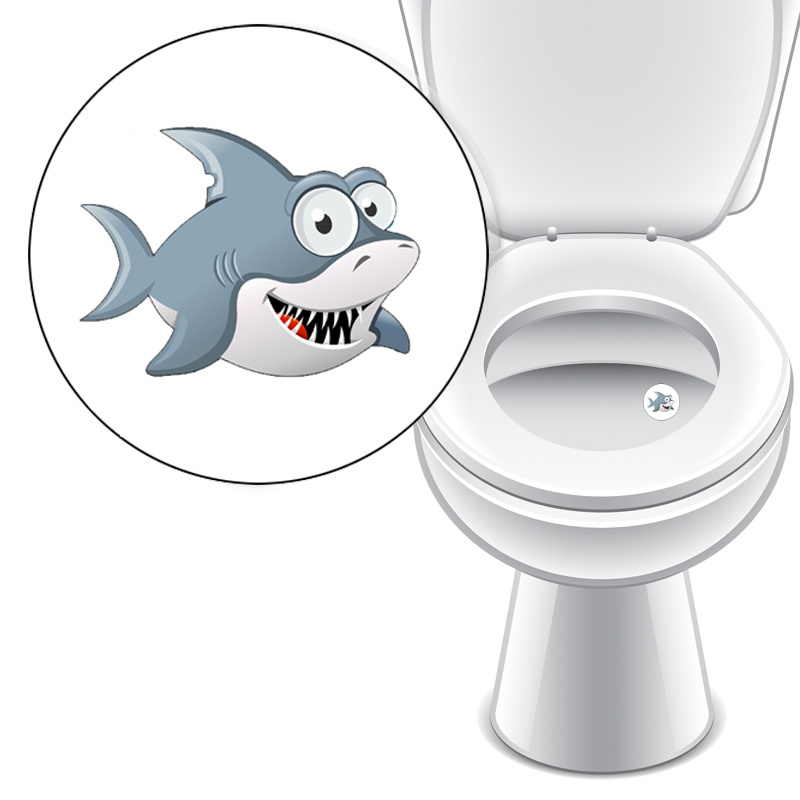 Toilet Stickers Haai - 4 Stickers