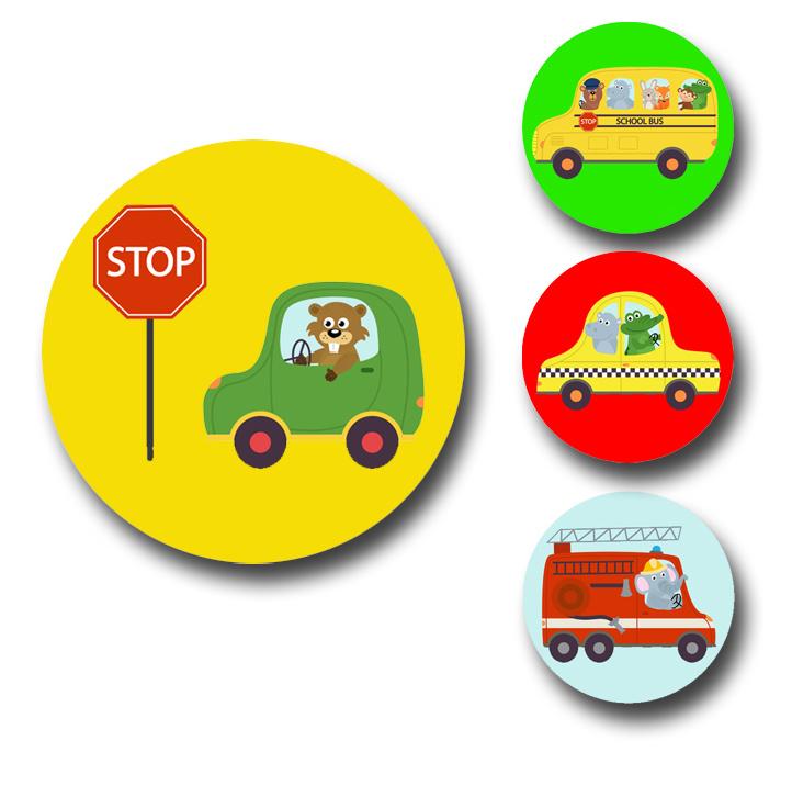 Plaskaart met stickers complete set - Autorace