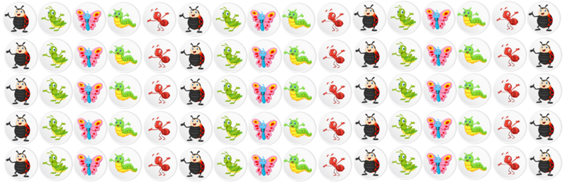 Plaskaart met stickers complete set - Insecten