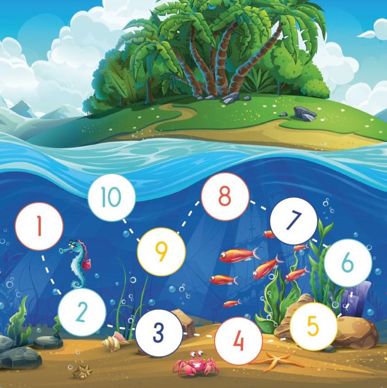 Plaskaarten met grote stickers - Zeebeestjes - Topkwaliteit