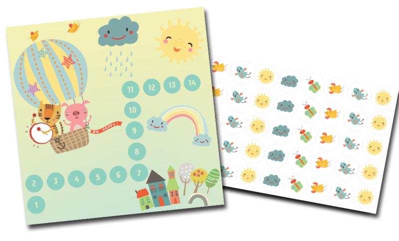 Plaskaart met stickers complete set - Schattig