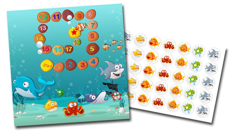 Plaskaart met stickers complete set - Aquarium