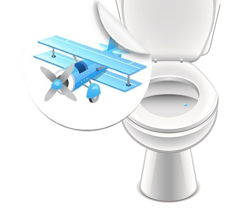 Toilet Stickers Vliegtuig - 2 Stickers