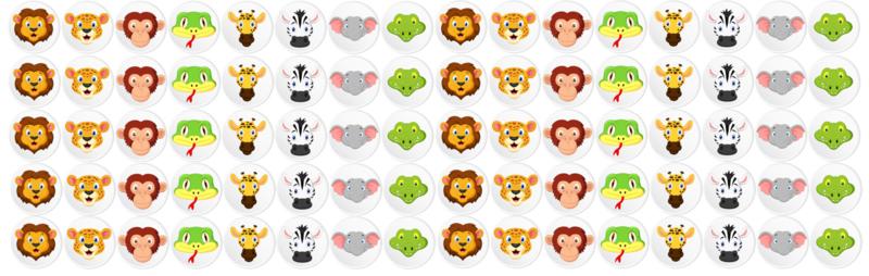 Plaskaart met stickers complete set - Jungle