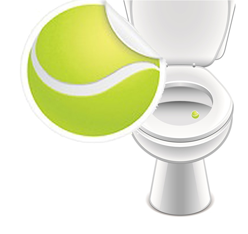Toilet Stickers Tennisbal - 2 Stickers