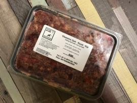 Vlees mix geit / rund / kip - 500, 1000 of ca. 1250 gram (grootverbruik)
