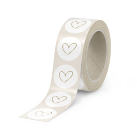 500 stickers   Heart on white