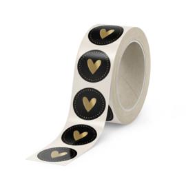 500 stickers   Hart Dots Zwart