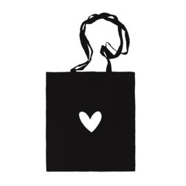 Katoenen tas | Hartje | Zwart