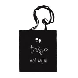 Katoenen tas | Tasje vol wijn | Zwart