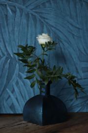 Glazen vaasje - vierkantvormig - Oud Blauw