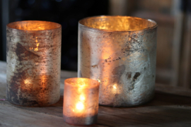 Glazen Theelichthouder - Cilinder - ø 6 cm- Zilver
