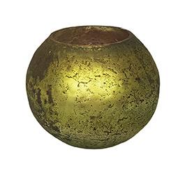 Glazen theelichthouder - Bolvormig - Medium - Oud Groen