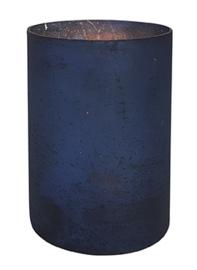 Glazen Theelichthouder - Cilinder- ø 10 cm - Oud Blauw