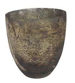 Glazen theelichthouder - Vaas - 14,5 x 15,5 - Oud Zilver