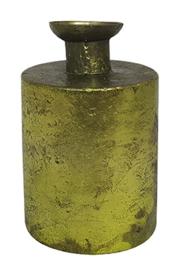 Glazen vaasje - cilindervormig - Oud Groen