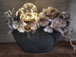 Glazen deco bol met LED lampjes - Zilverdraad