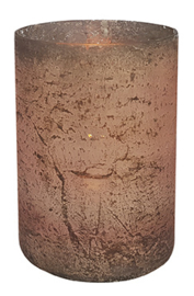 Glazen Theelichthouder - Cilinder- ø 10 cm - Oud Roze