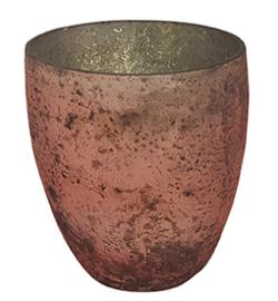 Glazen theelichthouder - Vaas - 11 cm hoog en breed - Oud Roze