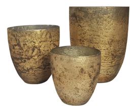 Glazen theelichthouder - Vaas - 14,5 x 15,5 - Oud Goud