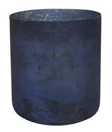 Glazen Theelichthouder - Cilinder- ø 14,7 cm - Oud Blauw