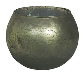 Glazen theelichthouder - Bolvormig - XL - Groen