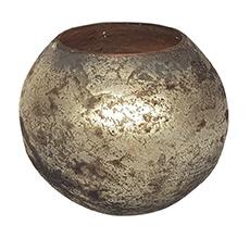 Glazen theelichthouder - Bolvormig - Medium - Oud Zilver