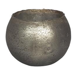 Glazen theelichthouder - Bolvormig - XL - Zilver