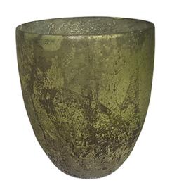 Glazen theelichthouder - Vaas - 14,5 x 15,5 - Oud Groen