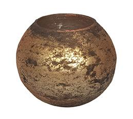 Glazen theelichthouder - Bolvormig - Medium - Oud Goud