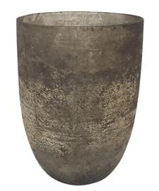 Glazen theelichthouder - Vaas - 22 cm hoog en 16 cm breed - Oud  Zilver