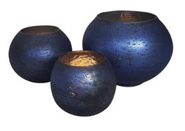 Glazen theelichthouder - Bolvormig - Klein - Oud Blauw