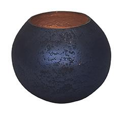 Glazen theelichthouder - Bolvormig - Medium - Oud Blauw