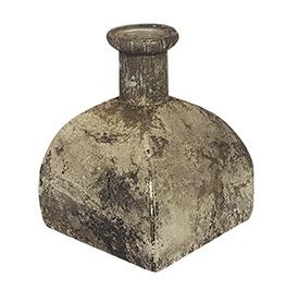 Glazen vaasje - vierkantvormig - Oud Zilver