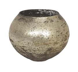 Glazen theelichthouder - Bolvormig - Large - Oud Zilver
