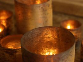 Glazen vaas - Cilinder - Oud Goud - L