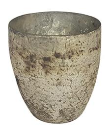 Glazen theelichthouder - Vaas - 11 cm hoog en breed - Oud Zilver