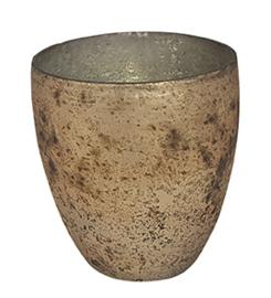 Glazen theelichthouder - Vaas - 11 cm hoog en breed - Oud Goud